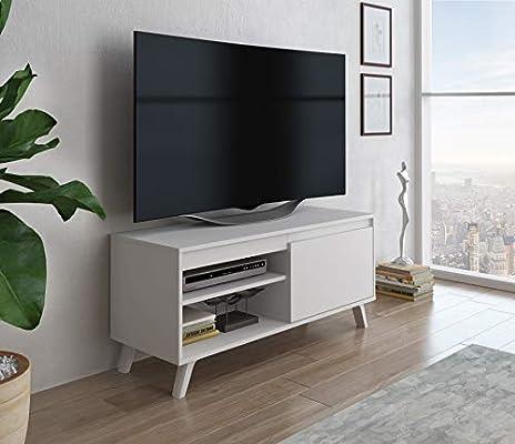 Home Heavenly® - Mueble TV salón Comedor Dallas, Mesa televisión Estilo nórdico con Amplio Espacio de almacenaje, fabricación Europea, en Blanco y Blanco/Roble Natural (100 cm, Blanco): Amazon.es: Electrónica