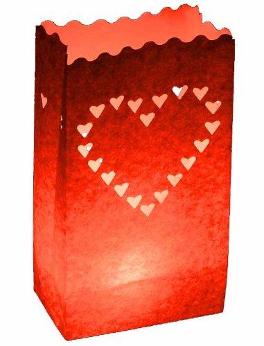 10 x de papel para velas, diseño de corazón rojo-Lámpara de ...