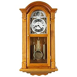 JUSTIME 29-inch Tall Deluxe Elaborate OAK Solid Wood Pendulum Wall Clock Rich Dual 44 Chiming Home Decor - P00029