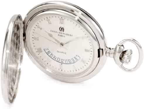 Charles-Hubert, Paris 3900-W Classic Collection Polished Finish Hunter Case Quartz Pocket Watch
