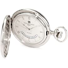 Charles-Hubert, Paris 3900-W Classic Collection Polished Finish Hunter Case Quartz Pocket Watch