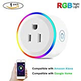WiFi Smart Switch Plug Outlet With RGB Night Light Smart Home,Compatible with Amazon Alexa, Google Home, IFTTT, No Hub Required,Wireless Remote Control Mini Smart Socket By UNPOPULAR