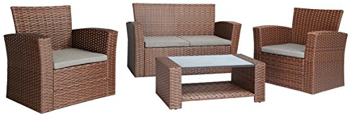 Baner Garden 4 Piece Outdoor Furniture Wicker Rattan Patio Backyard Garden Set with Grey Cushions, Full, Brown - Quality - Banner Garden outdoor furniture is built for comfort With deep seating supported by rust resistant powder coated Steel frames. Comes with smoke grey cushions. Handwoven - each piece is meticulously woven with high grade PE Rattan wicker and is a patio Furniture staple for any porch, patio, pool or sunroom Low maintenance - All weather Wicker and Cushions only require minor spot cleaning with a damp rag, water, and mild soap for endless beauty season after season - patio-furniture, patio, conversation-sets - 41MrtYl9sSL -