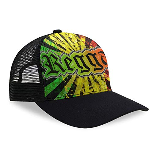 YongColer Kid's Reggae Jamaican Music Tie Dye Dad Hat, Relaxed Fit Trucker Hat, Baseball Cap, Sports Mesh Slouch Hat, Breathable Moisture Wicking Tech Cap for Baseball Team Sports Running