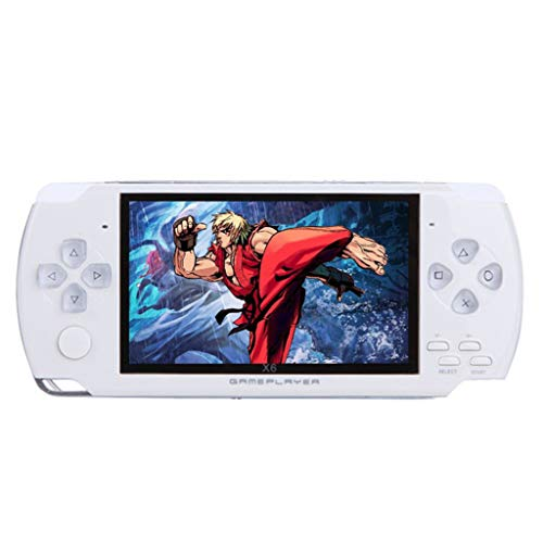 JP-DPP9 Handheld Game Console 8GB 4.3inch Screen 500 Classic Games Video Game Console Christmas Birthday Presents for Children Toys Gift (White)