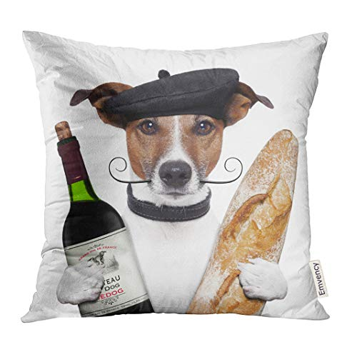 UPOOS Throw Pillow Cover White Funny French Dog Wine Baguette Beret Red Food Paris Decorative Pillow Case Home Decor Square 18x18 Inches Pillowcase