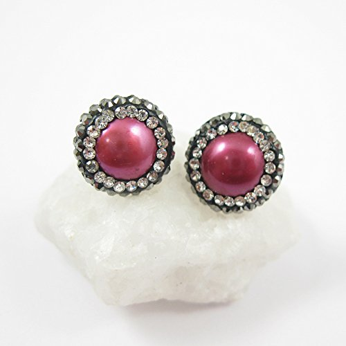 Hot Pink Freshwater Pearl Pave Earring Studs, 22K Gold plated Solid Sterling Silver Vermeil - Zircon Pave - 1 pair ()
