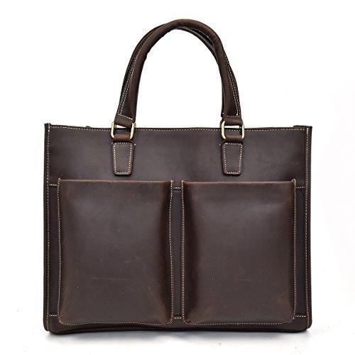 Echtes Leder Aktentasche 15 Business Laptop Handtasche Tasche braun Arbeit Tote (Light Brown) Dark Brown cir8G1N