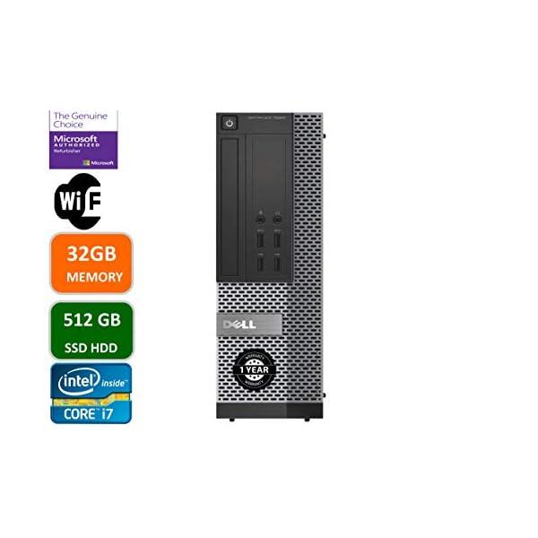 Dell Optiplex 7020 Desktop Computer, Intel Quad-Core i7-4770-3.4GHz, 32 GB RAM, 512GB SSD HDD, DVD, USB 3.0, WiFi, HDMI, Windows 10 Pro (Renewed)