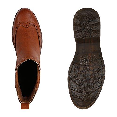 Leicht Gefütterte Damen Chelsea Boots Profilsohle Stiefeletten Flandell Hellbraun Brito