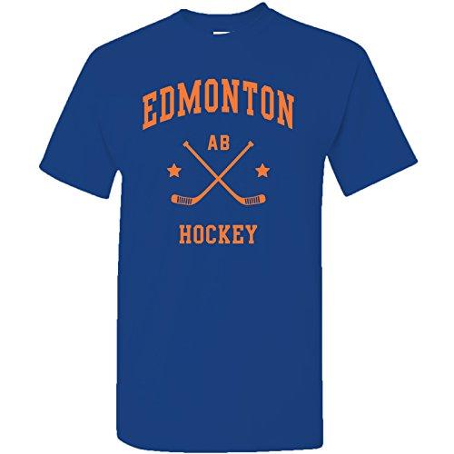 Edmonton Classic Hockey Arch Basic Cotton T-Shirt - X-Large - Cobalt ()