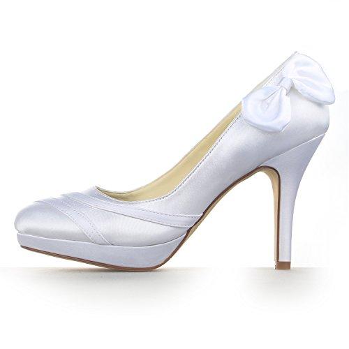 JIA Geschlossene JIA Hochzeitsschuhe 37084 Damen Brautschuhe Pumpen Weiß Platform Bowknot Zehe Absatz Stilett Satin 6qqIwx