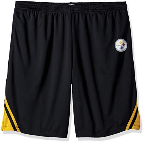 (OTS NFL Pittsburgh Steelers Male NFL Poly Dot Athletic Short, Jet Black, Medium)