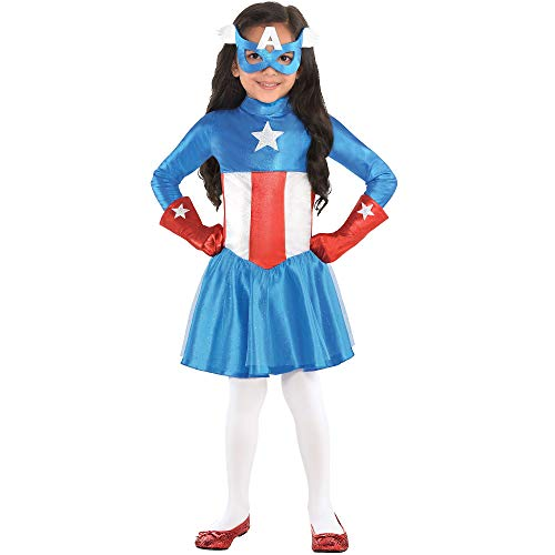 Costumes USA American Dream Costume for Toddler Girls, Size 3-4T, Includes a Dress, a Mask, and Long Red Gloves