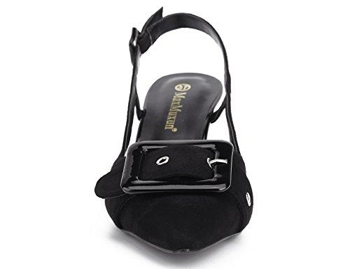 Fête Mariage Noir Ouvert Chaussures Boucles pour MaxMuxun à Talon Embellies EU avec Femmes Talons Pointu 36 et Hauts Pu 41 Élégant pour wRzPq0xzd