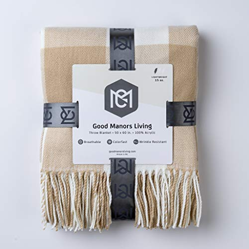 - GOOD MANORS Throw Blanket with Fringe - Buffalo Check Plaid Pattern - Ultra Lightweight 15 oz. - Woven Soft Breathable - 50 x 60 in. (Cream)