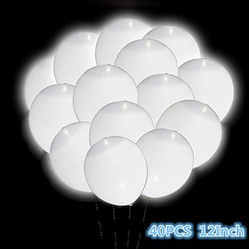 LED Light Up White Balloons, Premium 12 Inch