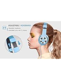 Auriculares supraaurales Ausdom estéreo HD, con cable ligero, almohadillas de piel suave con micrófono en línea, Azul