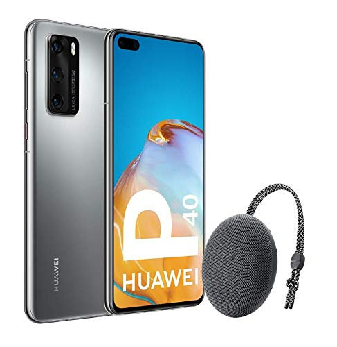 Huawei P40 5G – Smartphone de 6,1″ OLED (8GB RAM + 128GB ROM, Triple Cámara Leica de 50MP (50+16+8MP) con visión nocturna, chip Kirin 990 5G, 3800 mAh, carga rápida, EMUI 10 HMS) Plata + altavoz CM51