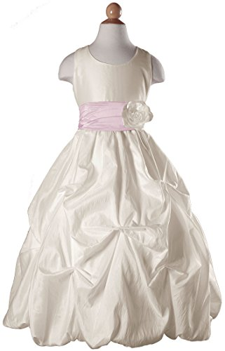 Girls Ivory Taffeta Flower Girl Dress With Tufted Skirt And Light Pink Colored Sash - Women Taffeta Brides Maid Dress