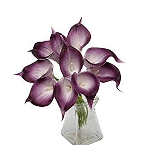 Angel Isabella, LLC 20pc Set of Keepsake Artificial Real Touch Calla Lily with Small Bloom Perfect for Making Bouquet, Boutonniere,Corsage (Plum Trim) 2