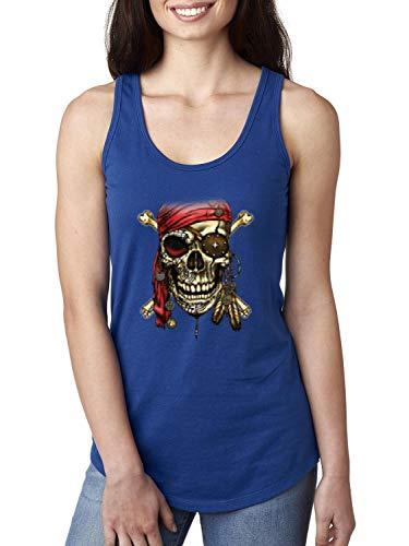 Pirate Skull Costume Women's Racerback Tank Top (MRB) Royal Blue ()