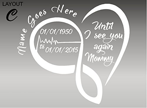 (In Loving Memory / HEART BEAT / Until I See You Again / Vehicle Decal / Window Sticker (Layout C, White))