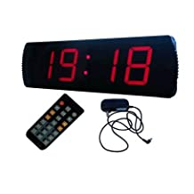 """GOODRELIISH Large LED Digital Clock 4"""" High Character Countdown/up Clock Operated by Remote Control,Red"""
