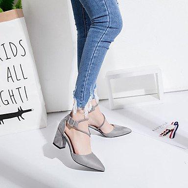 LvYuan Tacón Robusto-Zapatos del club-Sandalias-Oficina y Trabajo Vestido Informal-Vellón-Negro Rosa Gris Black