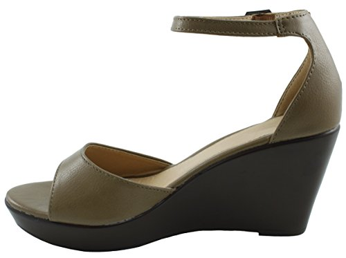 Cambridge Utvalda Womens Öppen Tå Ankel Strappy Plattform Wedge Sandal Kamel