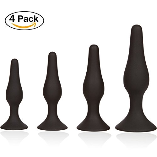 XUJI 4Pcs Different Size Beginner Toy Ana-l But-t Plu-g Set, Smooth Silicone Comfortable Ana-l Trainer Kits for Couples (Black)