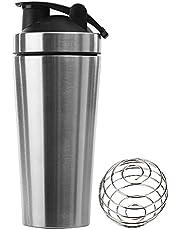 SUNYUN Sportmixer drinkfles met blenderBall, 750 ml BPA-vrij RVS Sport Protein Mixer Bottle met maatstreepjes geschikt als proteïneshaker, waterfles of voor fitnessshakes