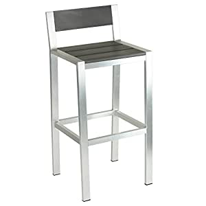 Aluminum Outdoor Bar Stool in Slate Grey with Water Resistant and Contemporary, Modern Style, Perfect Finishing Touch to Any Room, Sleek and Modern Design