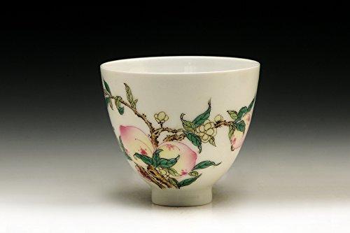 中国茶器 粉彩寿桃直口杯 B07F3RTZBJ