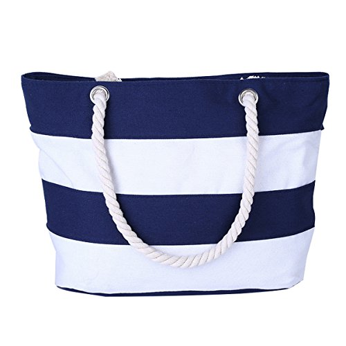Cotton Canvas Tote Beach Bag With Zipper Top Handle Handbag Shoulder Bags Shopping Bag from Nevenka (Style 1, Blue White) by Nevenka