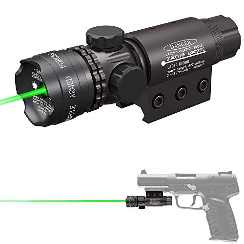 Suphunter Green Laser Beam Dot Sight Pointer Pressure/Push Switch with Picatinny/Scope Mount Rings for Handguns Pistols Caliber Rifles AR