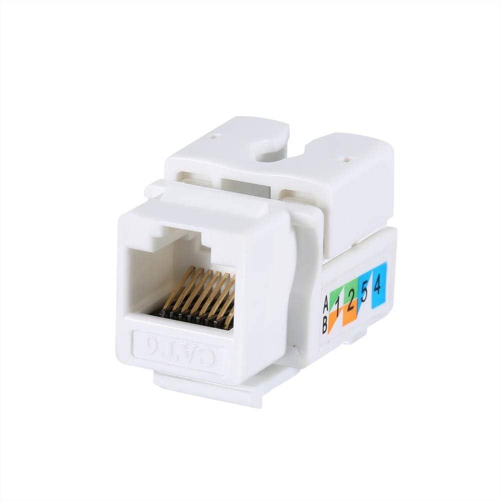 Cable Length White ShineBear 50 Pcs Generic CAT6 RJ45 Keystone Jack Punch-Down Stand Ethernet Module Network Coupler QJY99