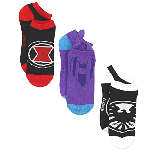 Marvel Comics Superhero Womens Novelty Costume 3 pack Low Rise Socks (9-11 / Shoe: 4-10, Black/Purple)