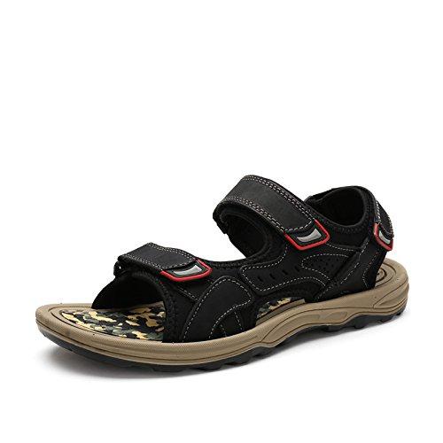 Männer Sandalen, Echtem Leder In Die Schuhe, Leder, Schuhe, Beach - Schuhe,Schwarz,Eu42