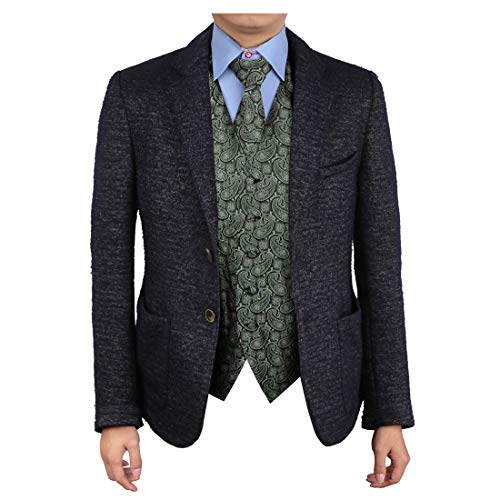 Epoint EGD1B04A-XL Light Green Black Patterns Vest Microfiber Lawyers Dress Vests Neck Tie Set Excellent For Business