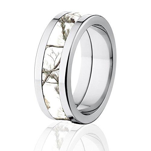 Snow Realtree Camo Ring, Titanium AP Camo Band, 8MM Comfort Fit|Amazon.com