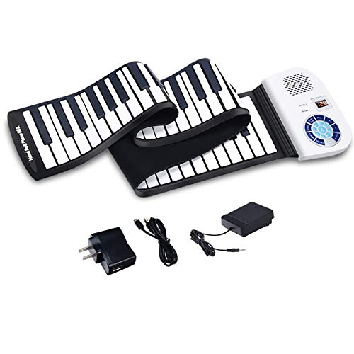 BABY JOY Roll Up Piano, Upgraded Electronic Piano Keyboard, Portable Piano w/Bluetooth, MP3 Headphone USB Input, MIDI OUT, 128 Rhythms, Record, Play, Volume Control (White, 88Keys)