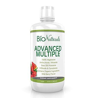 Advanced Liquid Multivitamin for Men & Women by Bio Naturals - 100% Organic & Vegetarian - 200+ Vitamins, Antioxidants, Enzymes, Minerals & Extracts for Brain, Heart, Liver, Eyes & More - 32 fl oz