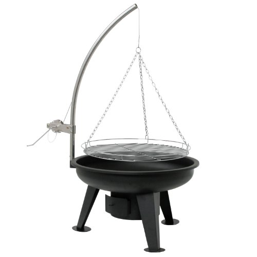 Schwenkgrill Ø 64 cm, Holzkohle Grill, Grillgalgen mit Kurbel, Grillrost