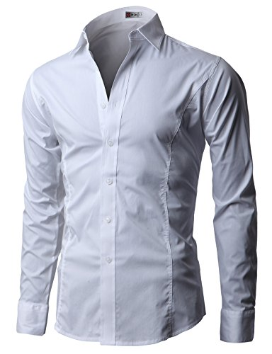 H2h Mens Wrinkle Free Slim Fit Dress Shirts  White  Us S  Asia M