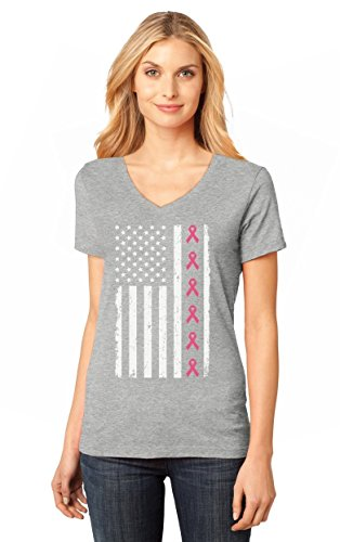 Breast Cancer Awareness Pink Ribbons - Big USA Flag Women's Fitted V-Neck T-Shirt Large Gray