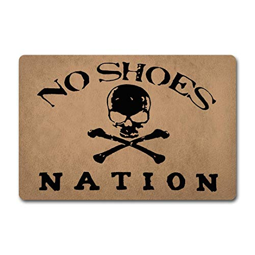 ZiQing WelcomeDoor Mats No Shoes Nation Doormat Skull No Shoes Door Rugs Welcome Monogram Mats (23.6 X 15.7 in) Non-Woven Fabric Top with a Anti-Slip Rubber Back Door Rugs Hello Doormat