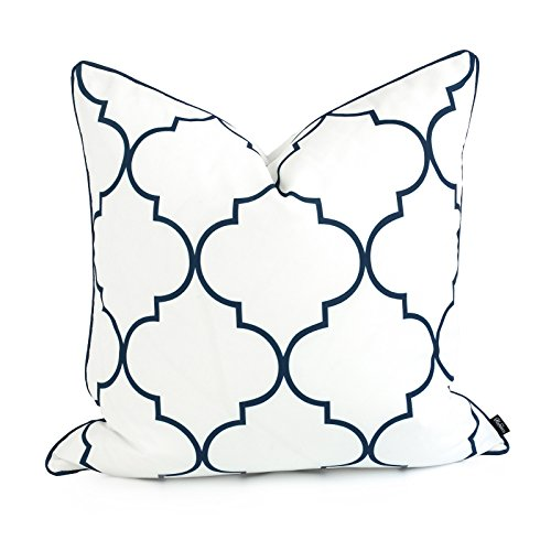 Hofdeco Decorative Throw Pillow Cover Indoor Outdoor Water Resistant Canvas Spring Navy Blue Moroccan Quatrefoil 20
