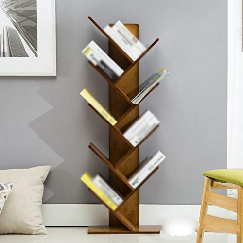 (QiXian Shelves Organizer for Books Bookcase Bookshelf Ends Bamboo Floorstanding Tree Creative Student Desk Study Strong Sturdy, 5-Tier)