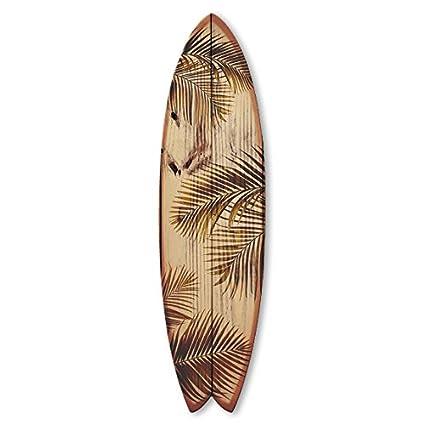 Vertikale Decoración Pared Tabla de Surf Fish Hojas de Palmera de Madera en Bruto 150 x